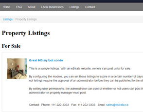 Create classified listings and real estate listings with your eStrata condo website